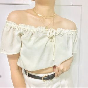 NWOT Beige off shoulder sheer blouse